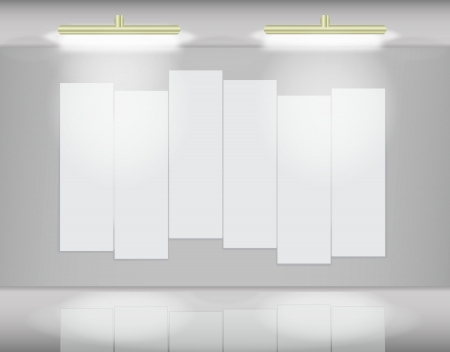 Six highlited white canvases in virtual art gallery