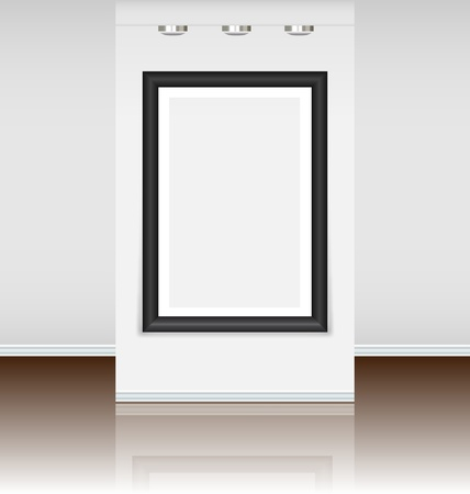 Pre-made virtual art gallery with a big frame just to instal a picture Vector