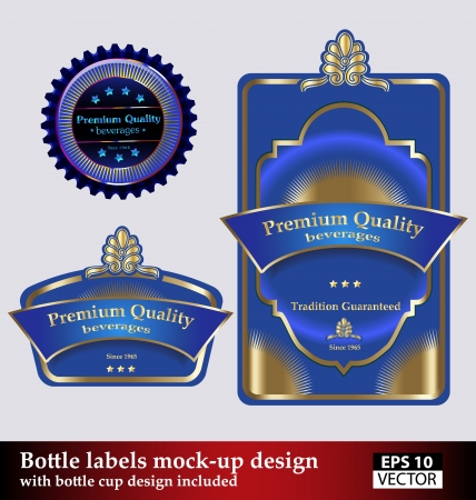A mock-up kit containing both, the bottle and bottle cup design. Easily recolorable. Vector
