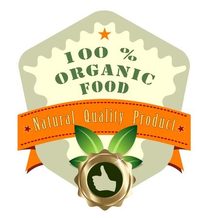 Creative design of premium quality ecobio product label Illustration