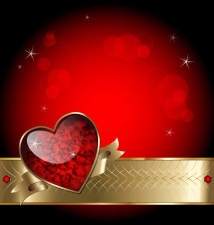 gold frame: Illustration of luxurious template background with heart, gold elements and stars