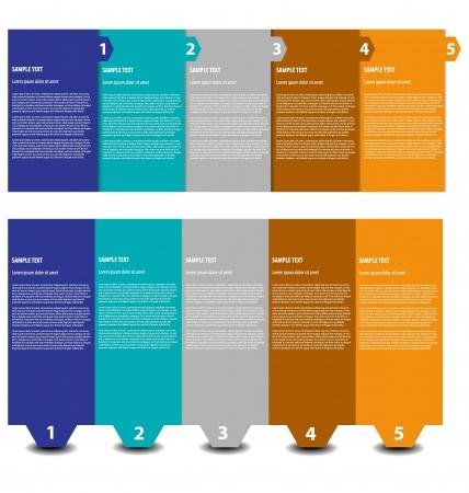 instructions: Disegno multicolore di modelli di presentazione semplici e pulite con cinque casella di testo