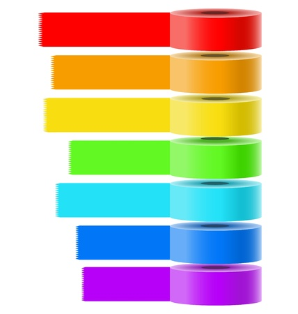 Vector collection of bright colored selfadhesive tapes for multipurpose use in creative designers tasks