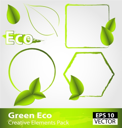 Creative pack of green ecology design elements Stock Vector - 15115356