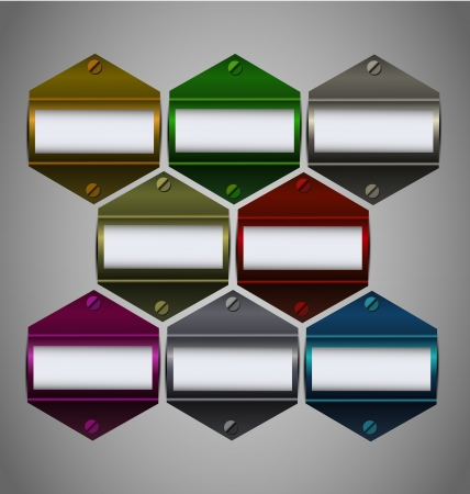 Vector multicolored metallic stickers collection with empty text block