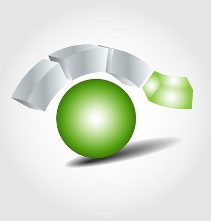 wireless communication: Originally designed brand logo in ecology color Illustration