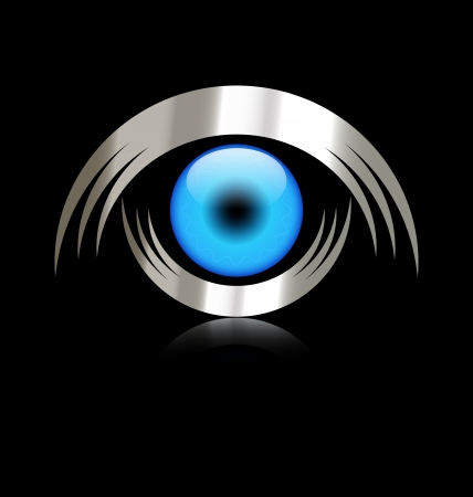 technology symbols metaphors: Blue eye logo