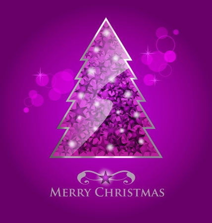Abstract glossy purple  christmas tree on purple background with bokeh element Vector