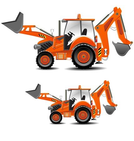 maquinaria pesada: Ilustración detallada del tractor (versión edificio) en varios tamaños