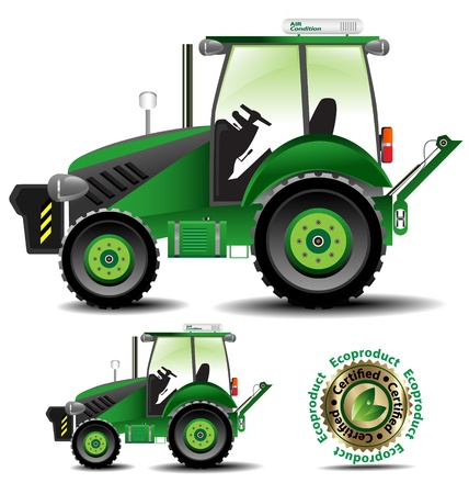 heavy set: Detailed vector illustration of tractor (Agric version) in various sizes Illustration