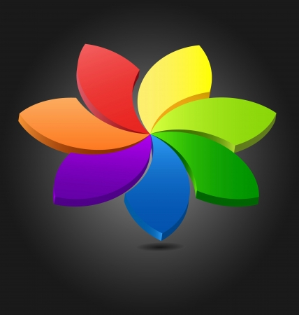 secondary colors: Design of a 3D flower color wheel for multipurpose use Illustration