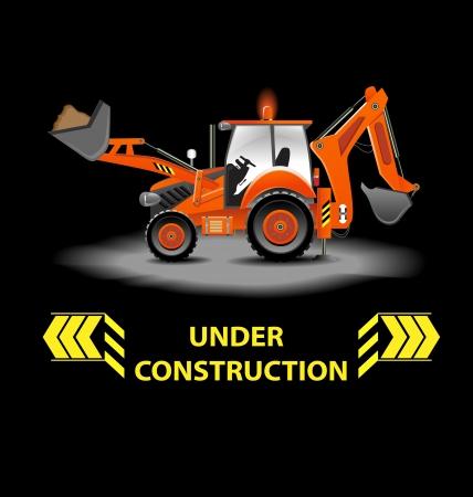 yellow tractor: Bajo ilustraci�n de la construcci�n de alerta