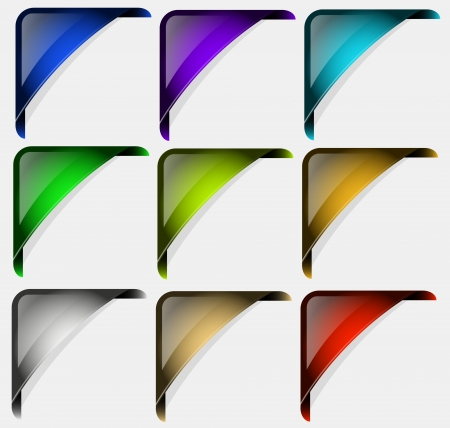Originally designed collection of  corners for multipurpose use in design. Illustration