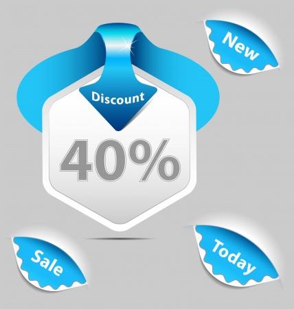 A set of discount sale labels Illustration