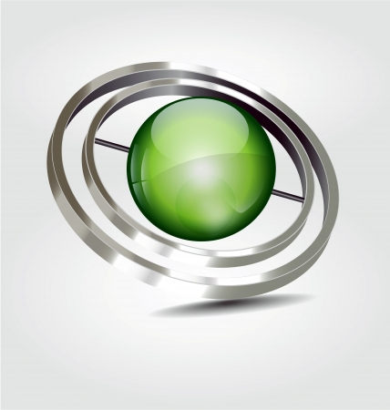 Originally designed high reflected logologotype with the green sphere Vector