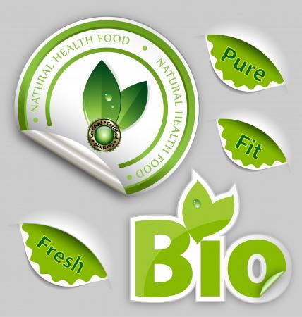 logo de comida: Originalmente establecido dise�ado de alimentos org�nicos, Eco, Bio etiquetas y elementos