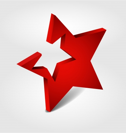 Originaly designed red star 3D Stock Vector - 15754140