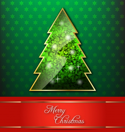 Christmas-themed decorative wallpaper with Christmas tree and red banner Illustration