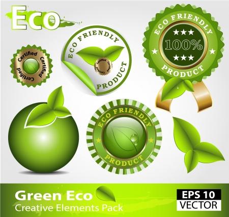 Green ecofriendly design elements creative pack