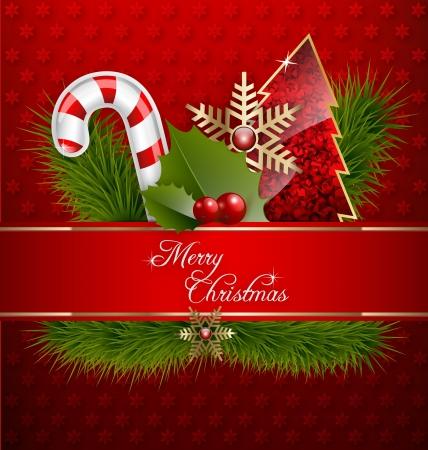 happy holidays: Illustratie van een vrolijk kerstfeest achtergrond met ornamenten en versieringen