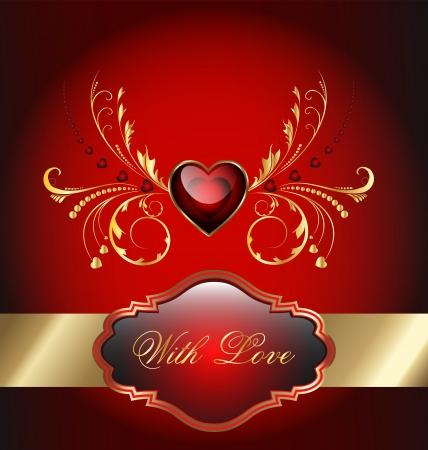 Elegant Valentines day-themed red celebration card Illustration