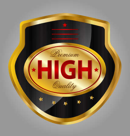 Design of a creative glossy and gold premium quality product label Illustration
