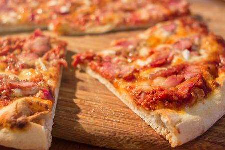 Hot Homemade Ham and Cheese Pizza