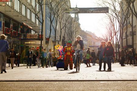 Main Shopping Street Mariahilfer Street, Vienna Austria October 20.2015