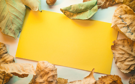 Empty yellow note card, space for text, message greeting card with autumn decoration