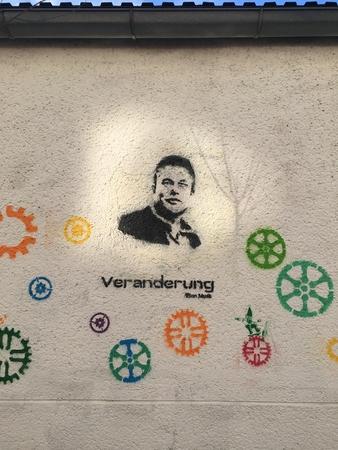 Elon Musk painting Mural on House wall, Vienna Austria 13-3-2018 Editorial