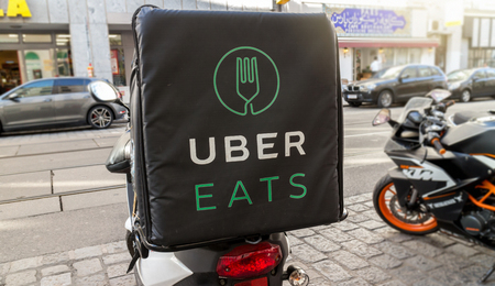Uber Eats bike, international food delivery company from the U.S, Vienna Austria April 14, 2018