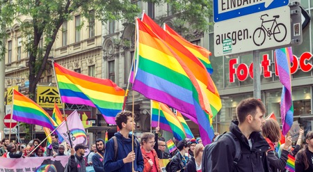 Vienna Austria May. 17 2018, Protest of LGBT people for more rights with pride flags through the main streets of Vienna