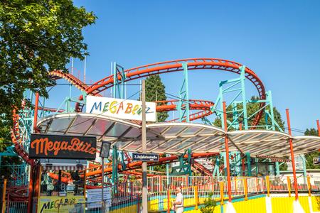 Vienna Austria May.26 2018, empty Mega Blitz roller coaster Editorial