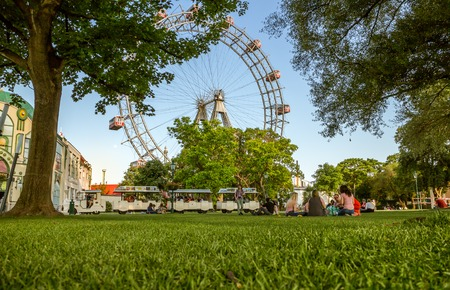 Vienna Austria May.26 2018, Riesenrad Old big ferris wheel and landmark of Vienna