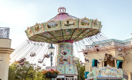 Vienna Austria May.26 2018, Old Carousel at the Prater amusement park entrance