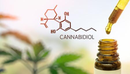 Cannabidiol CBD en pipeta contra la planta de cáñamo con molécula química Foto de archivo