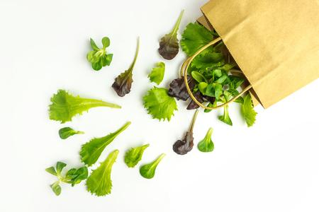 Paper bag spill green leafy vegetables salad on white background