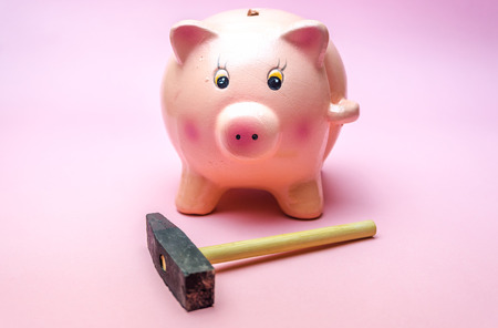 Piggy Bank with small Hammer isolated on pink