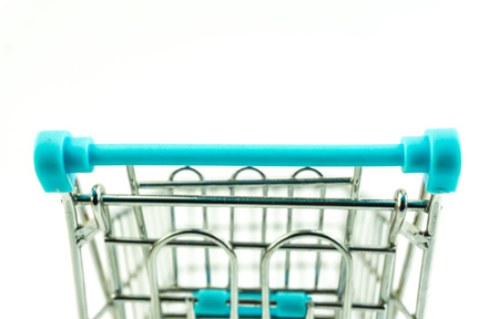 Front View of Shopping Cart On White Background with copy space