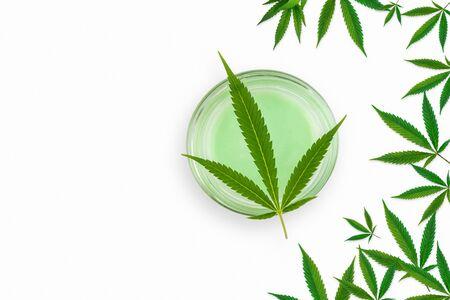 CBD Cannabis Hemp topical cream and balm with cannabis leaf isolated on white