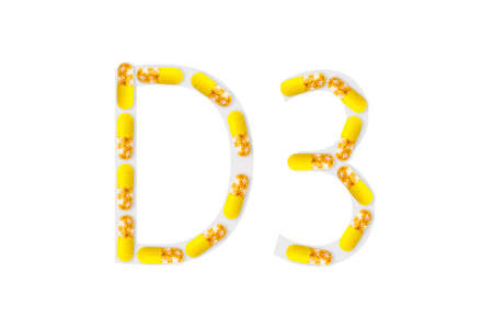 Bright yellow capsules forming shape D3 on white background, Vitamin D3 dietary supplement