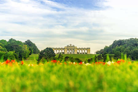 Vienna Austria - June 15, 2020: Bundesgarten Wien Garden at Schönbrunn Palace with Gloriette on the background in Vienna