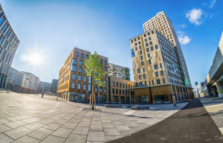 Vienna Austria Aug. 16 2020, The HoHo wooden apartment tower at the new district Seestadt Aspern with beautiful eco-friendly buildings