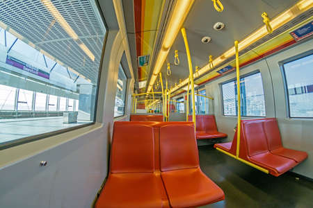 Vienna Austria Aug.15 2020, Wide angle view of Vienna empty Vienna Metro line U2 Ubahn 新聞圖片