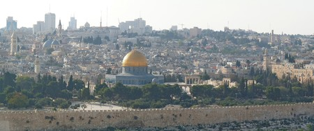 dome of the rock: A panoramic view of the Dome of the Rock, Jerusalem, Israel. Stock Photo