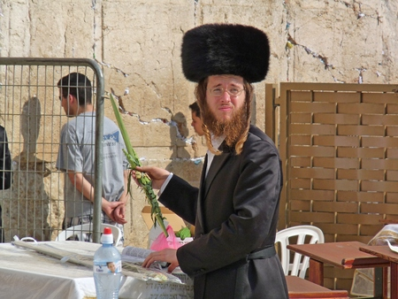 tabernacles: An Orthodox Jew in Shtreimel at The Western Wall, Wailing Wall or Kotel, Jerusalem, Israel Editorial