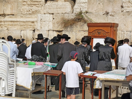tabernacles: Jews at The Western Wall, Wailing Wall or Kotel, Jerusalem, Israel