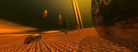 オレンジと緑がかった茶色の背景、象徴的なファンタジー画像 写真素材
