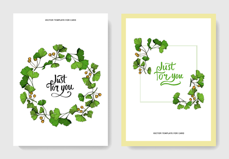 Vector Ginkgo green leaf. Plant botanical garden floral foliage. Engraved ink art. Wedding background card floral decorative border. Invitation elegant card illustration graphic set banner.