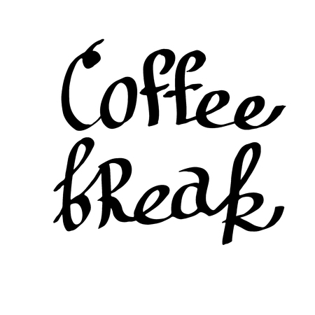 Vector Coffee break handwriting monogram calligraphy. Black and white engraved ink art. Isolated text illustration element. Hand lettering graphic desing.